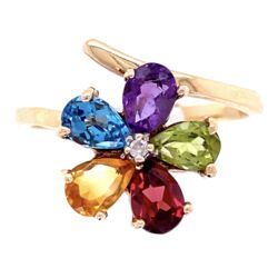 Closeup photo of 10K YG Mult Color Pear Shape Gemstone & Diamond Ring 3.25g, s8.25