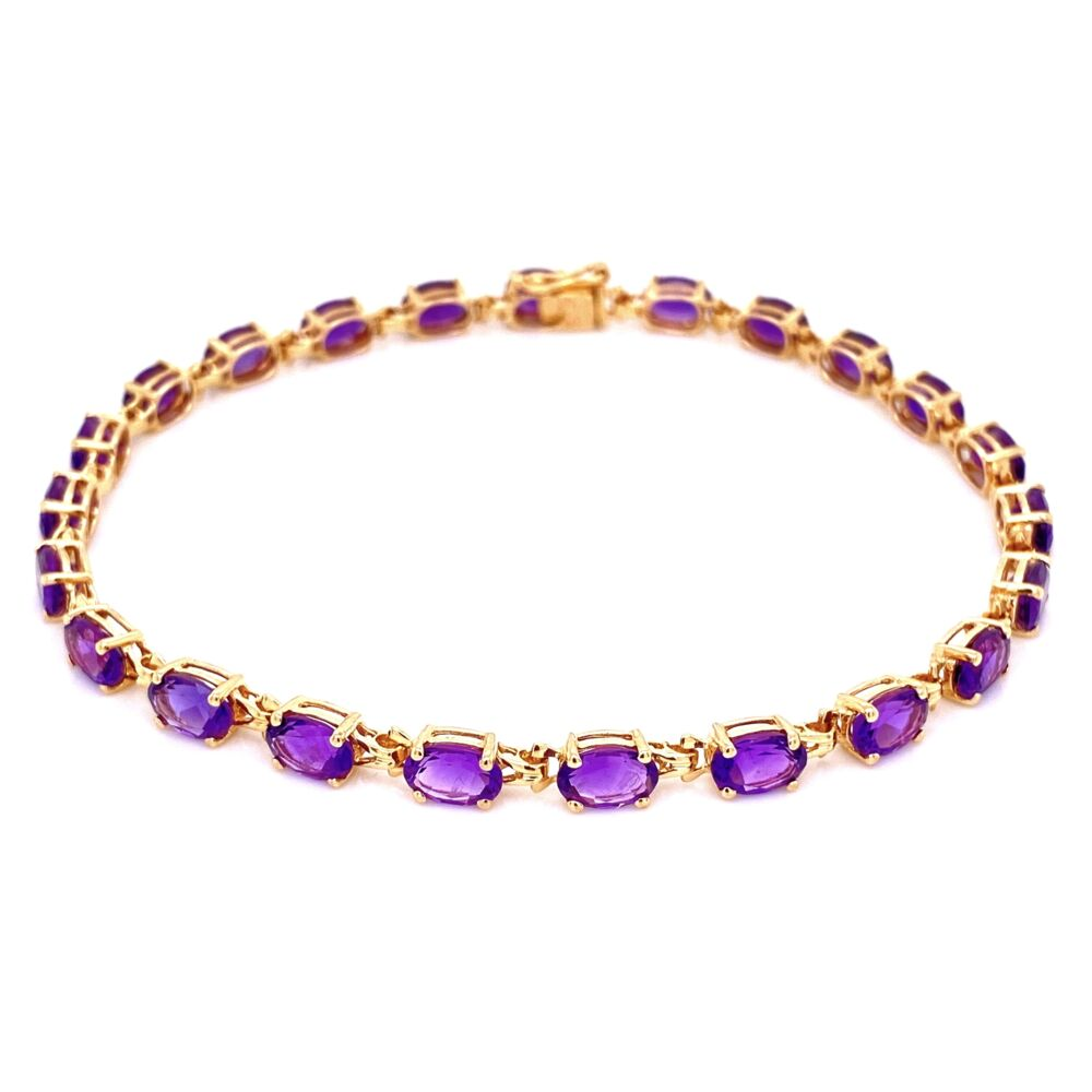 Image 2 for 14K YG Oval Amethyst prong set Line Bracelet 7.4g, 8""