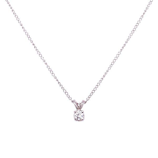 "Closeup photo of 14K WG Solitaire Diamond Necklace .20ct Round Brilliant 1.0g, 16"""