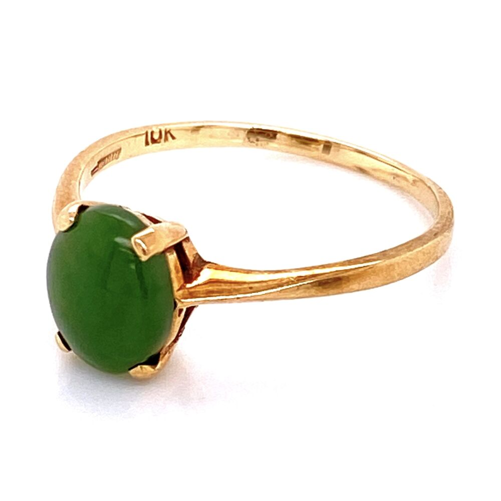 10K YG Oval Nephrite Jade Solitaire Ring 1.85g, s9