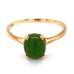 Closeup photo of 10K YG Oval Nephrite Jade Solitaire Ring 1.85g, s9