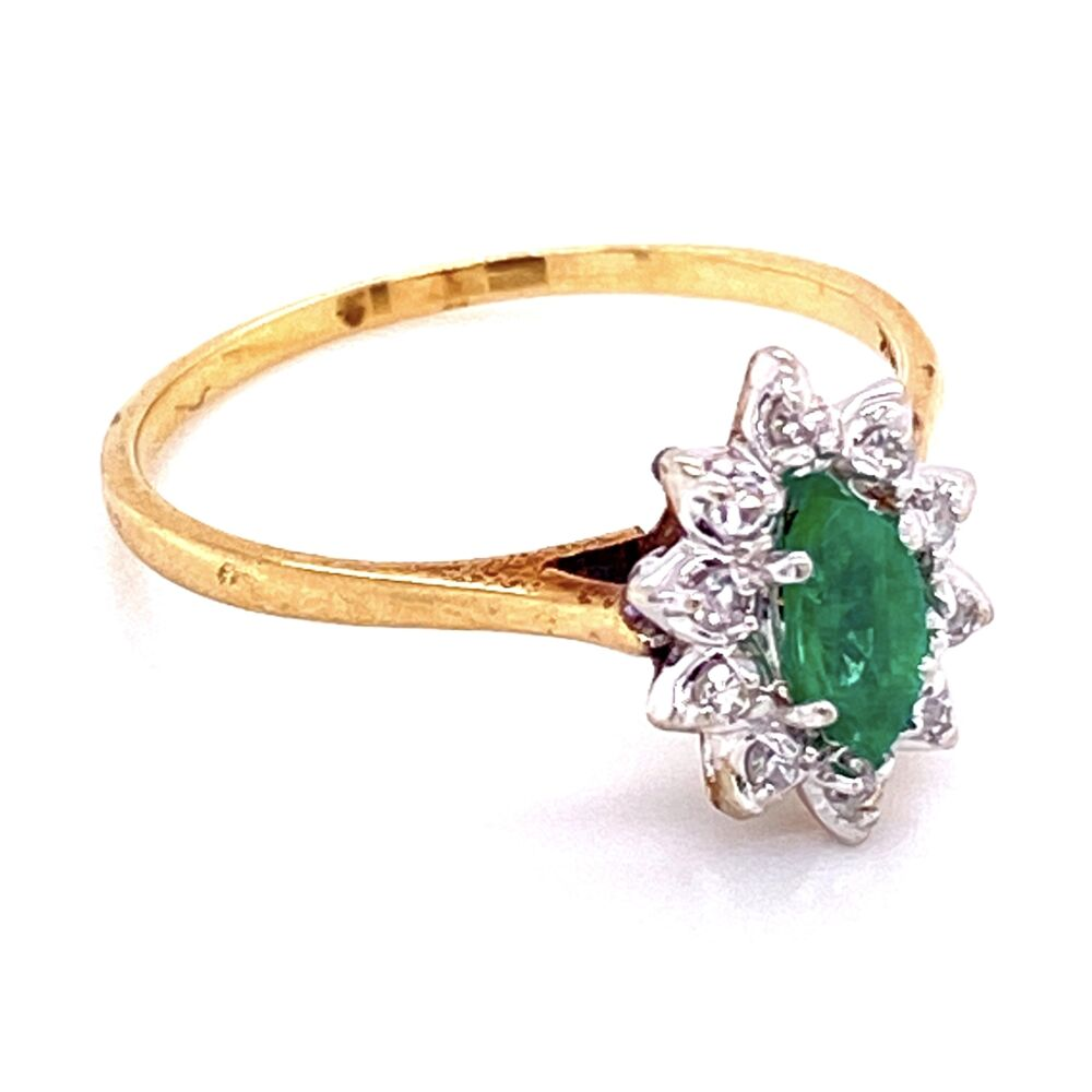 Image 2 for 10K 2tone Marquise Emerald & Diamond Ring 2.3g, s8.5