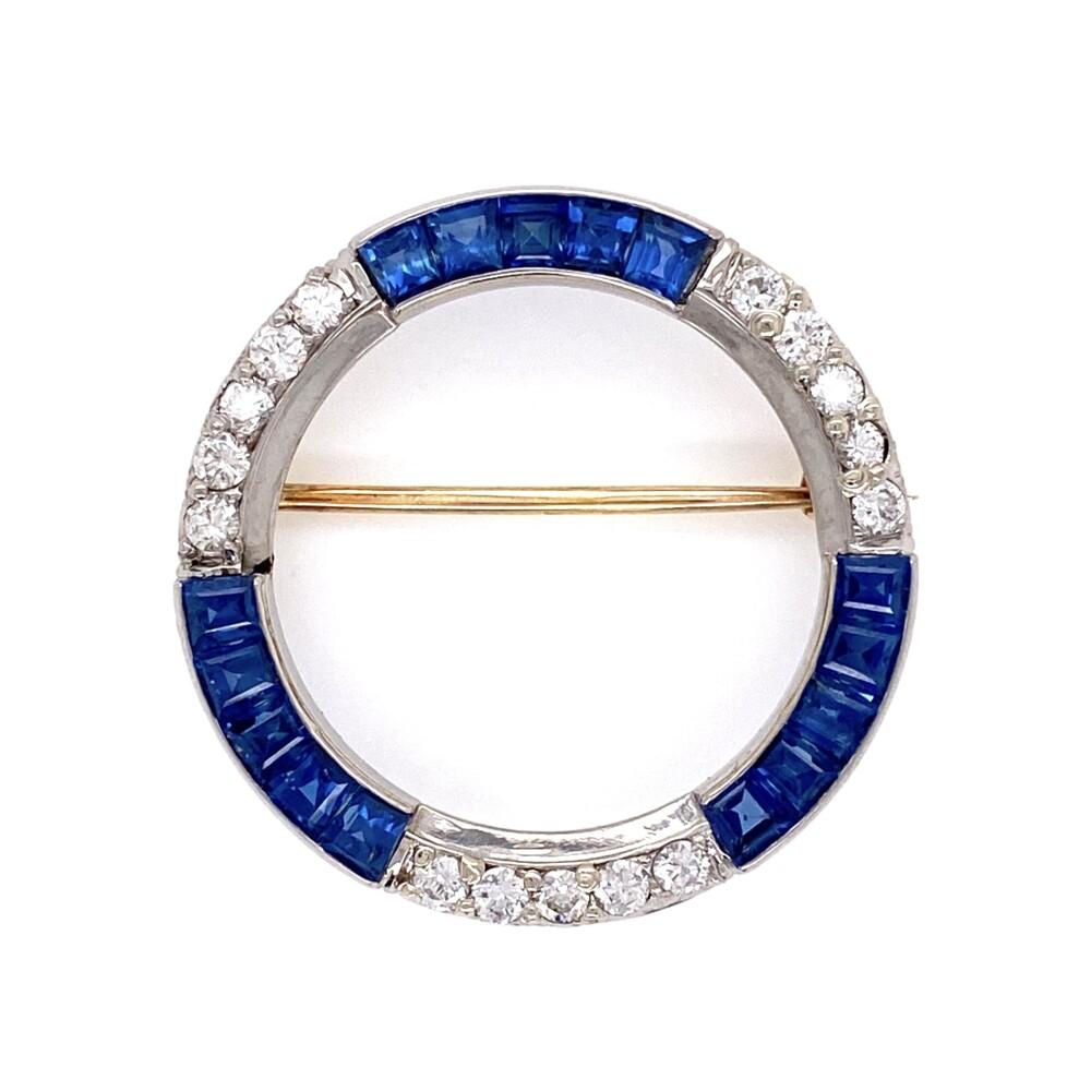 "Platinum Art Deco Sapphire & .60 tcw Diamond Circle Brooch 4.3g, 1.25"" Diameter"