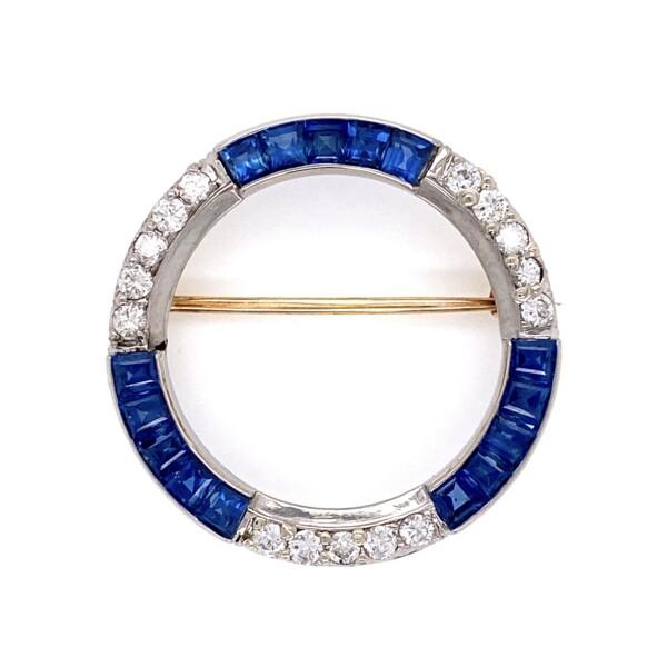 "Closeup photo of Platinum Art Deco Sapphire & .60 tcw Diamond Circle Brooch 4.3g, 1.25"" Diameter"