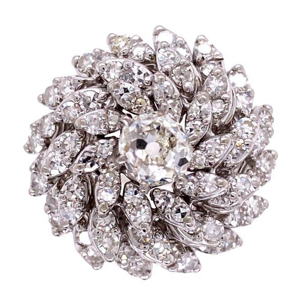Closeup photo of 14K WG 1950's Cluster Dome Diamond Ring 10.3g
