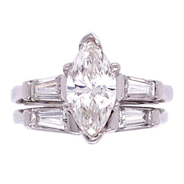 Closeup photo of Platinum 1950's .89ct Marquis Diamond & Wedding Band Set 7.3g