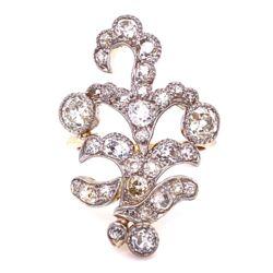 Closeup photo of Platinum & 18K YG Edwardian free form Diamond cluster ring 7.5g
