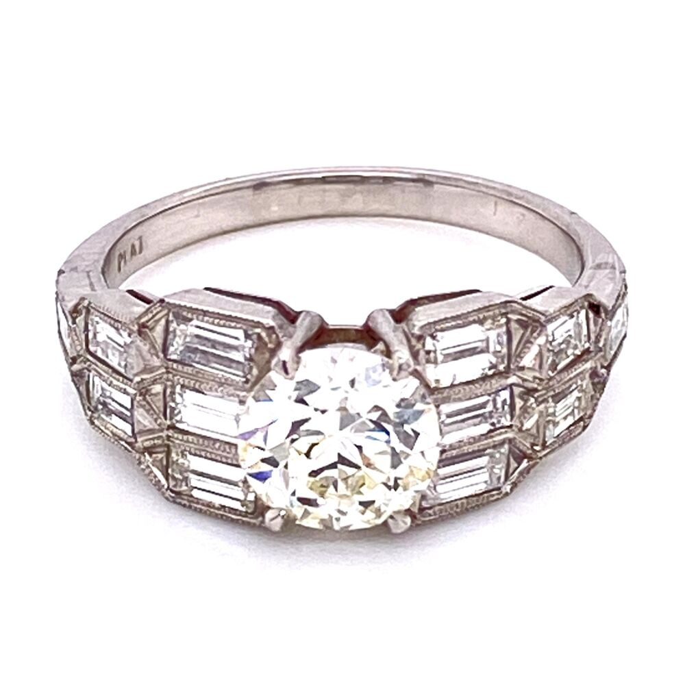 Platinum Art Deco 1.15ct OEC Diamond Ring with Baguette sides 5.0g