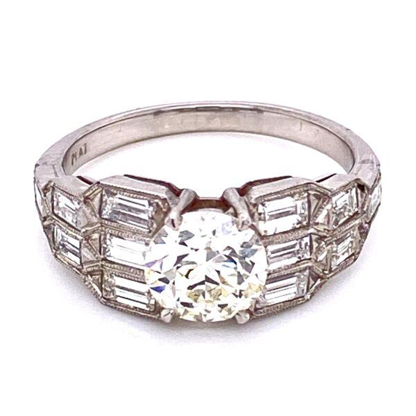 Closeup photo of Platinum Art Deco 1.15ct OEC Diamond Ring with Baguette sides 5.0g