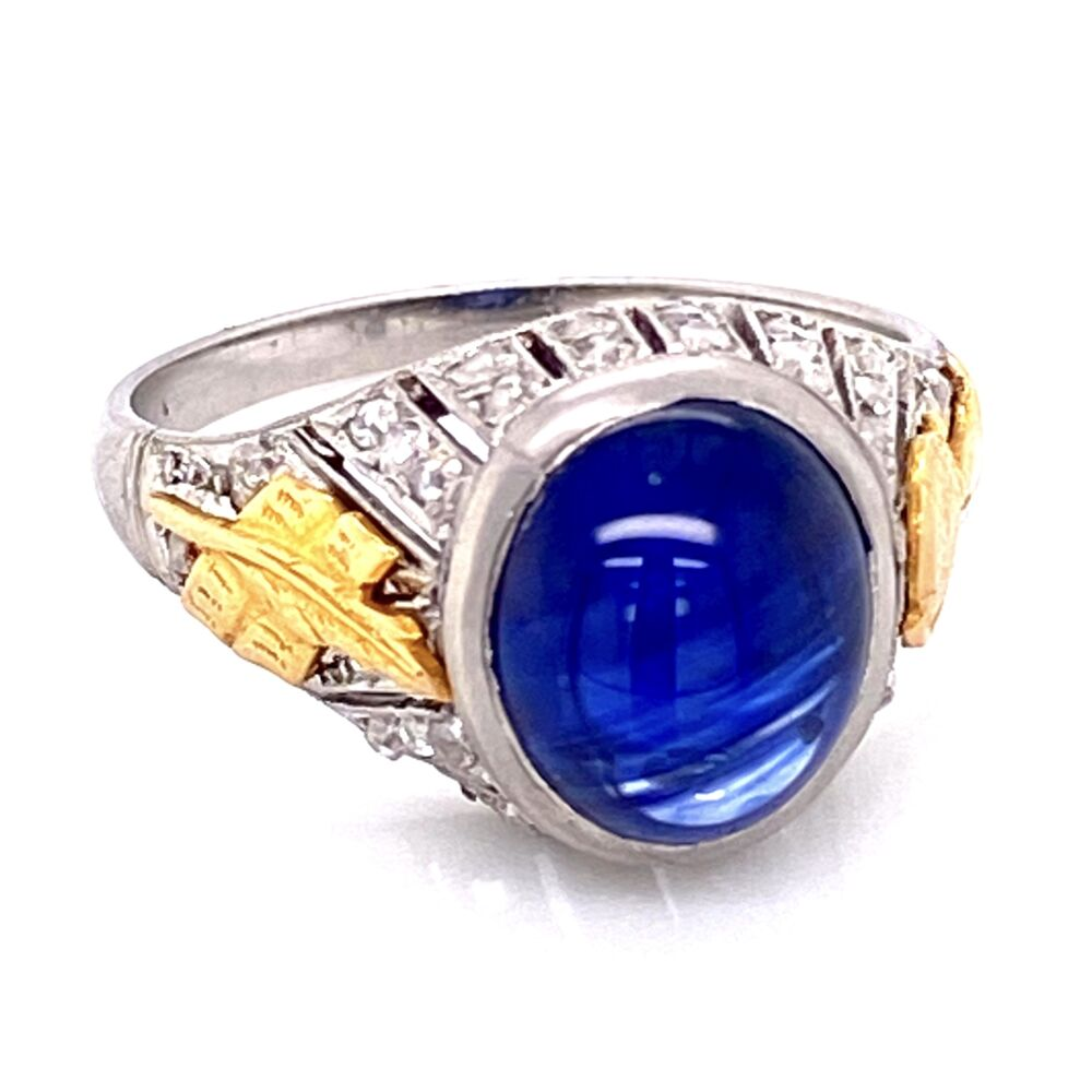 Image 2 for Platinum Art Deco Cabochon Sapphire & Diamond Ring 5.4g