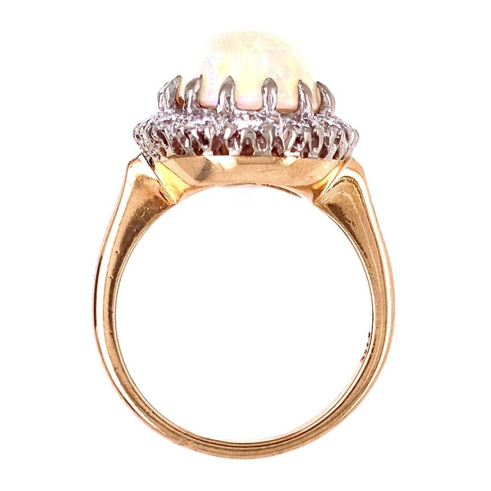 14K 2tone 1950's 5ct Opal & .70tcw diamond Ring 5.5g, s6.5