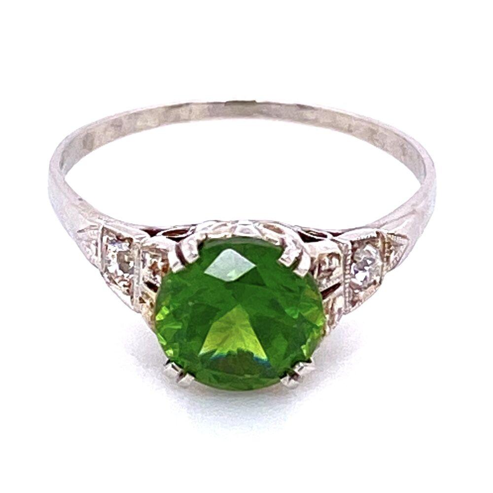 Image 2 for Platinum Art Deco 1.85ct Round Demantoid Garnet Ring 3.3g, s6.5