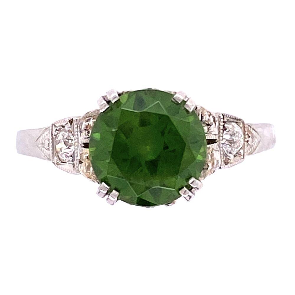 Platinum Art Deco 1.85ct Round Demantoid Garnet Ring 3.3g, s6.5