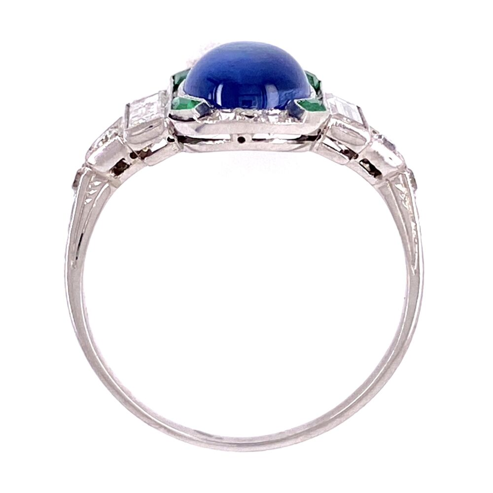 Platinum Art Deco Cab Sapphire, Emerald & Diamond Ring 3.8g, s7.5