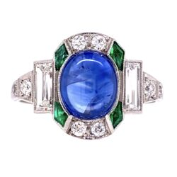 Closeup photo of Platinum Art Deco Cab Sapphire, Emerald & Diamond Ring 3.8g, s7.5