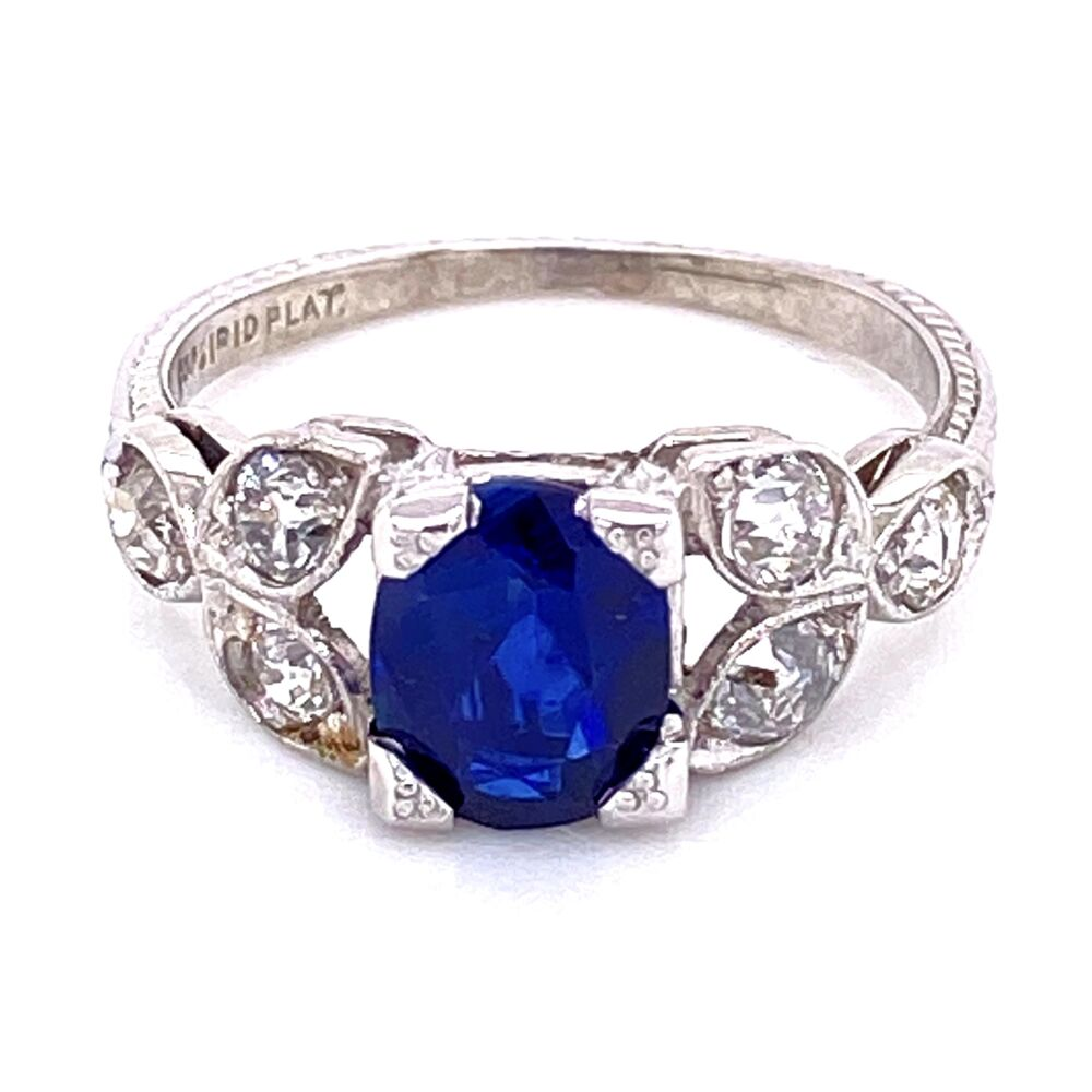 Image 2 for Platinum Art Deco 1.65ct Oval Sapphire & .80tcw Diamond Vintage Ring. s6