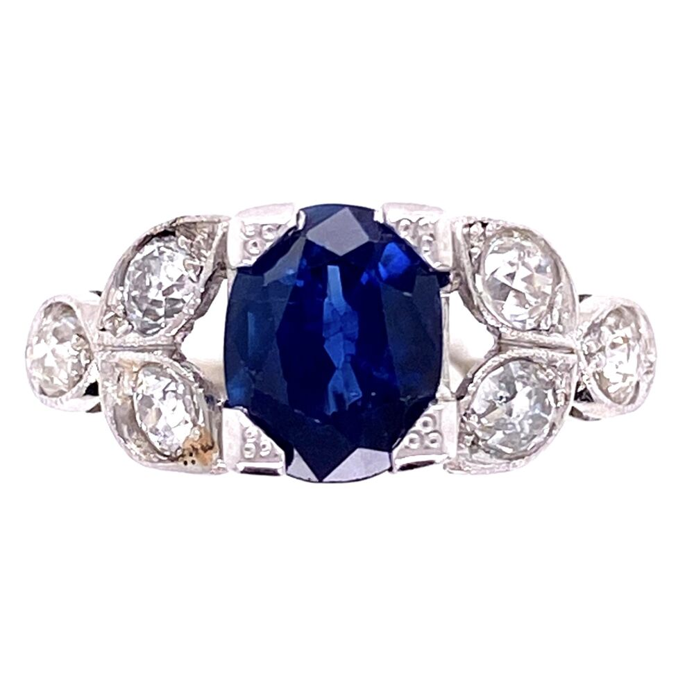 Platinum Art Deco 1.65ct Oval Sapphire & .80tcw Diamond Vintage Ring. s6