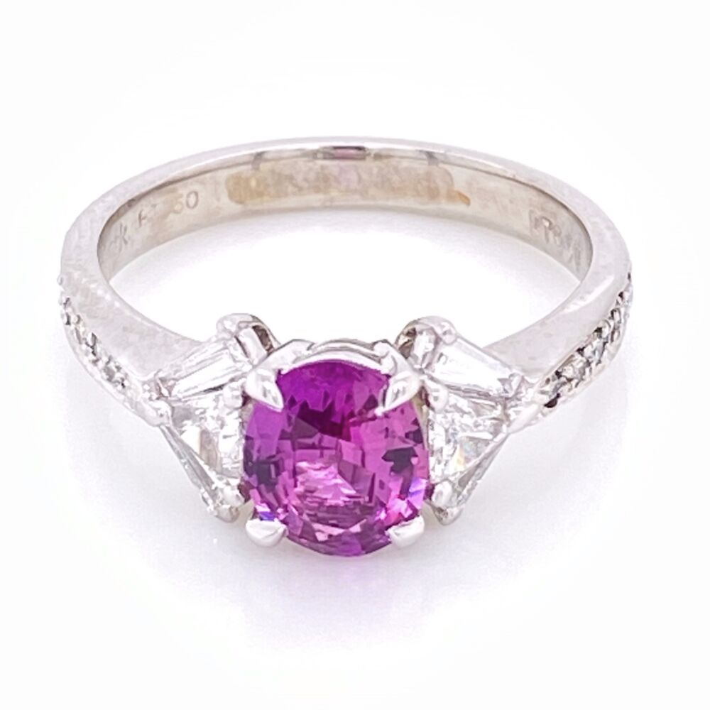 Image 2 for Platinum SPARK Pink Sapphire and Fancy Diamond Ring. s6.5
