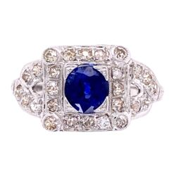 Closeup photo of 18K WG Art Deco Sapphire & Diamond Ring, s6.5