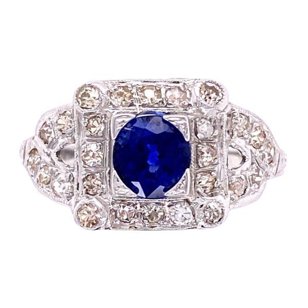 Closeup photo of 18K WG Art Deco Sapphire & Diamond Ring, s6.5