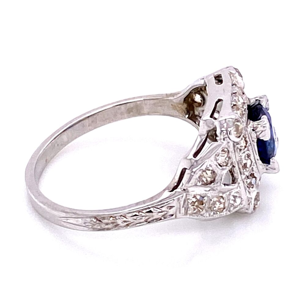 18K WG Art Deco Sapphire & Diamond Ring, s6.5