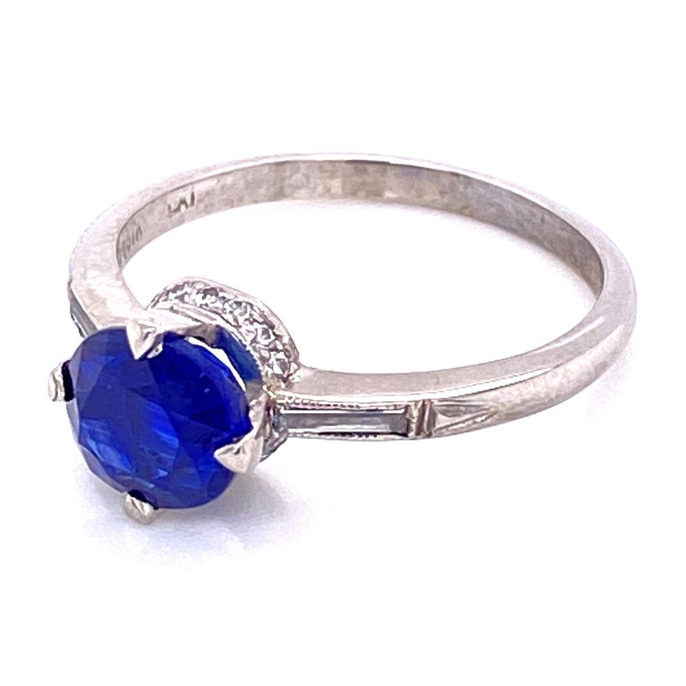 Platinum Art Deco Solitaire 1.67ct Sapphire & Diamond Ring , s6.5