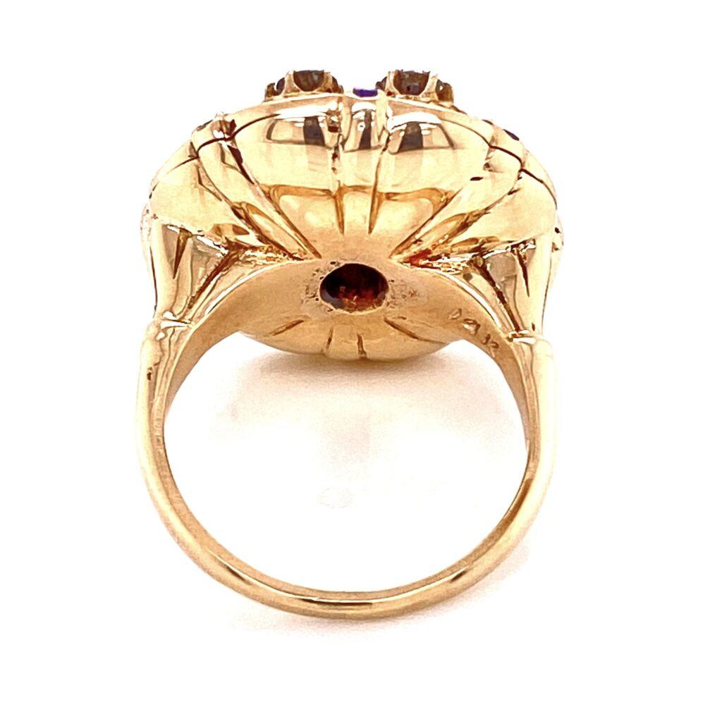 14K YG Victorian Revival Sapphire, Diamond & Enamel Ring, s6.5