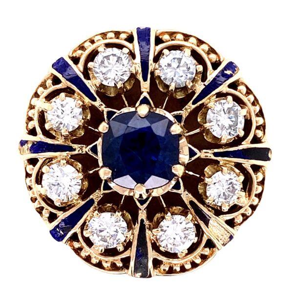 Closeup photo of 14K YG Victorian Revival Sapphire, Diamond & Enamel Ring, s6.5
