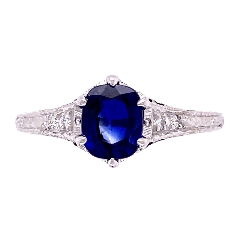 18K WG 1.18ct Sapphire & .06tcw Diamond Ring, s7