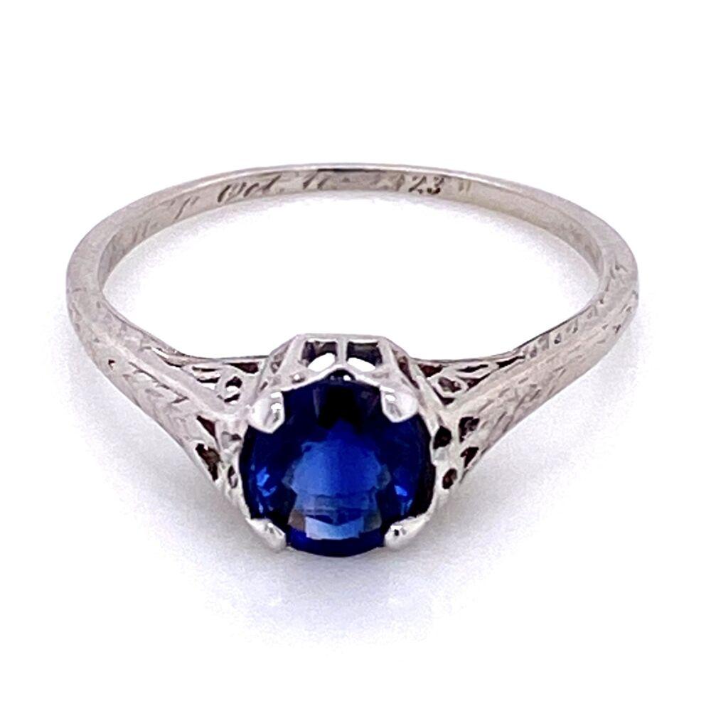 Platinum Art Deco Solitaire Filigree 1.50ct Sapphire Ring, s6