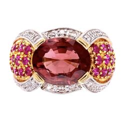 Closeup photo of 14K YG Oval Tourmaline, Ruby & Diamond Modern Ring 7.9g, s6.5