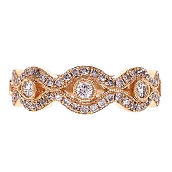 Closeup photo of 14K Rose Gold Diamond Swirl Band 4.1g, s6.5