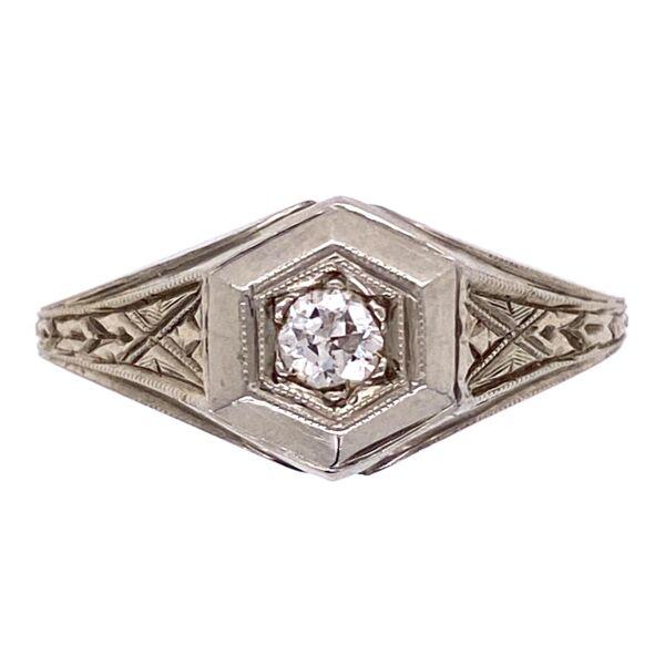 Closeup photo of 18K WG Mens Art Deco Engraved Diamond Band Ring 4.2g, s9.25