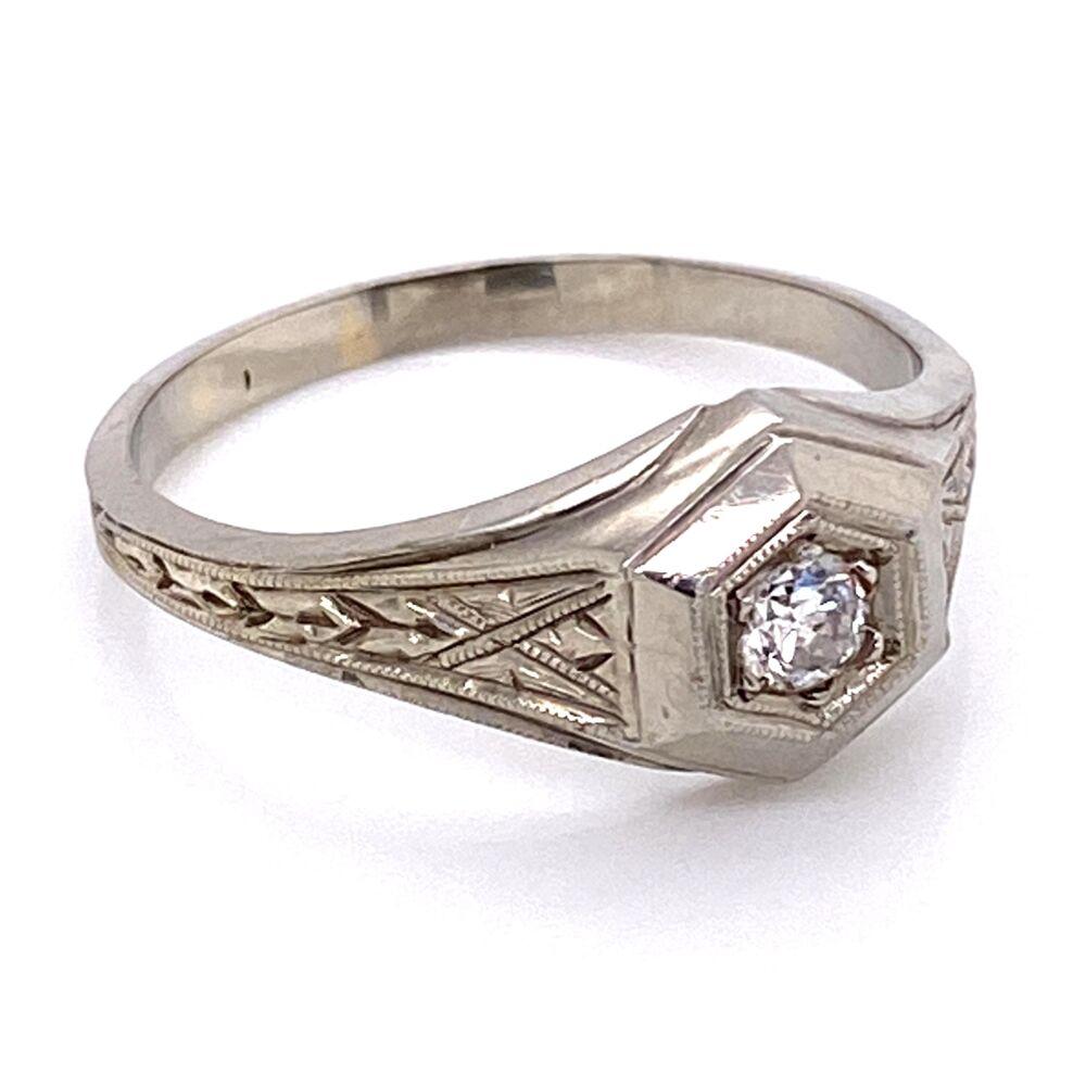 18K WG Mens Art Deco Engraved Diamond Band Ring 4.2g, s9.25