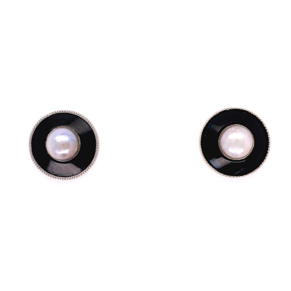 Image 2 for Platinum on Gold Edwardian Pearl Black Enamel Earrings, 2.6g