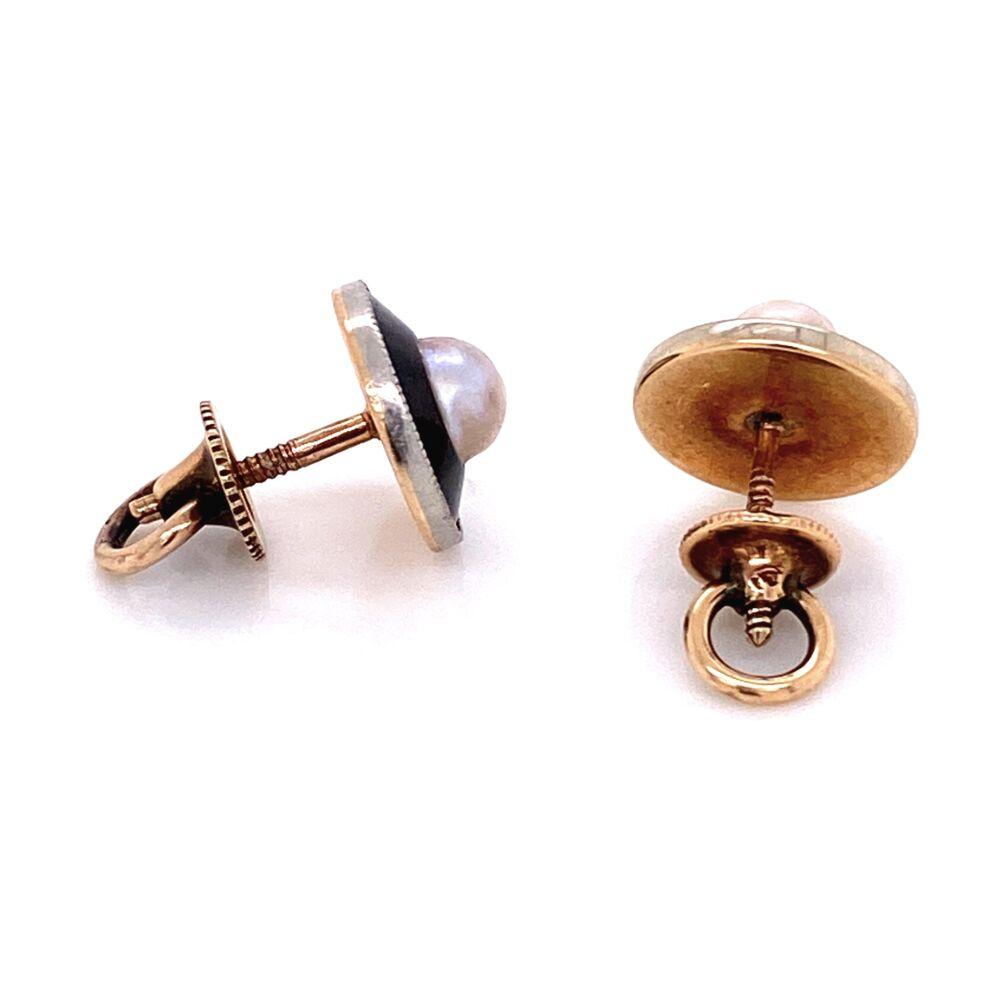 Platinum on Gold Edwardian Pearl Black Enamel Earrings, 2.6g