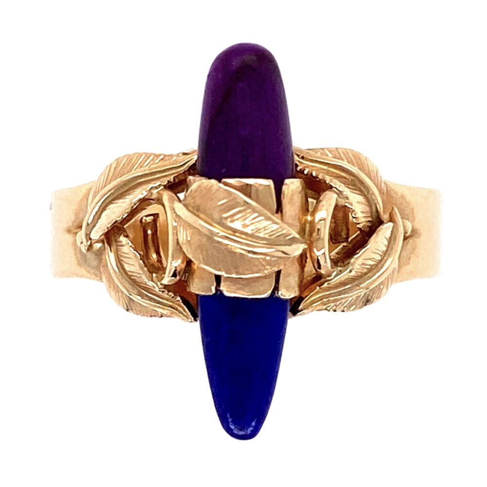 14K Yellow Gold Ring with Leaves over Lapis & Sugilite 3.4g, s5.75