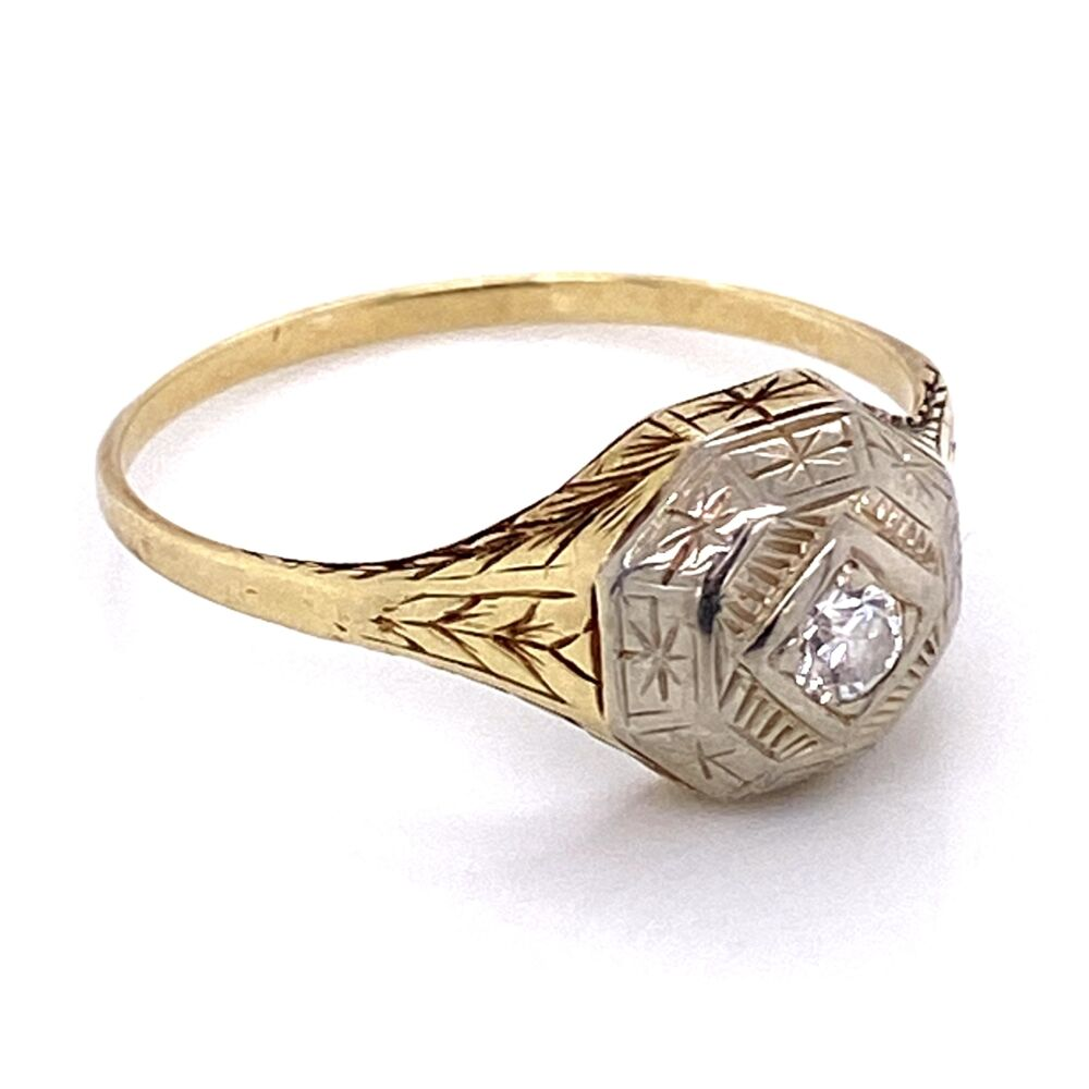 Image 2 for Platinum on Gold late Edwardian Diamond Ring with Engraving, 2.8g, s10