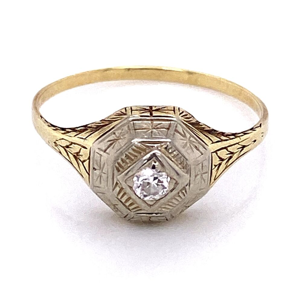 Platinum on Gold late Edwardian Diamond Ring with Engraving, 2.8g, s10