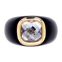 Closeup photo of 14K Yellow Gold Black Resin with Checkerboard Quartz 12.2, s10