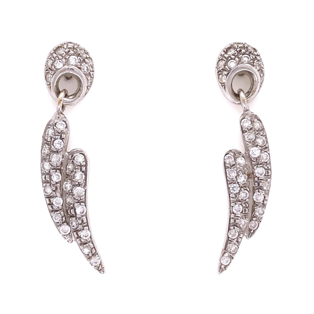 14K WG Pave Diamond Wings Dangle Earrings 1.00tcw, 5.0g