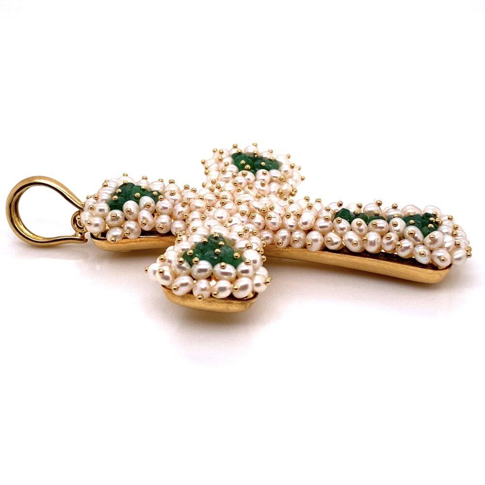 "18K YG Large Pearl & Emerald Italian MOD-DEP Cross Pendant 19.8g,  3"" Tall"