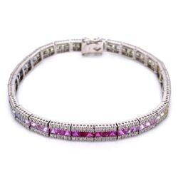 "Closeup photo of 14K White Gold Line Bracelet, Rainbow sapphires 7.02tcw & diamonds 1.56tcw 7.25"""