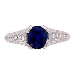 Closeup photo of Platinum Art Deco 1.05ct Sapphire & .08tcw Diamond Ring 3.6g, s5.25