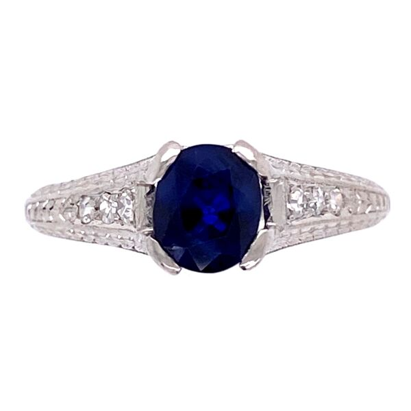 Closeup photo of Platinum Art Deco 1.05ct Sapphire & .08tcw Diamond Ring 3.6g, s5.25