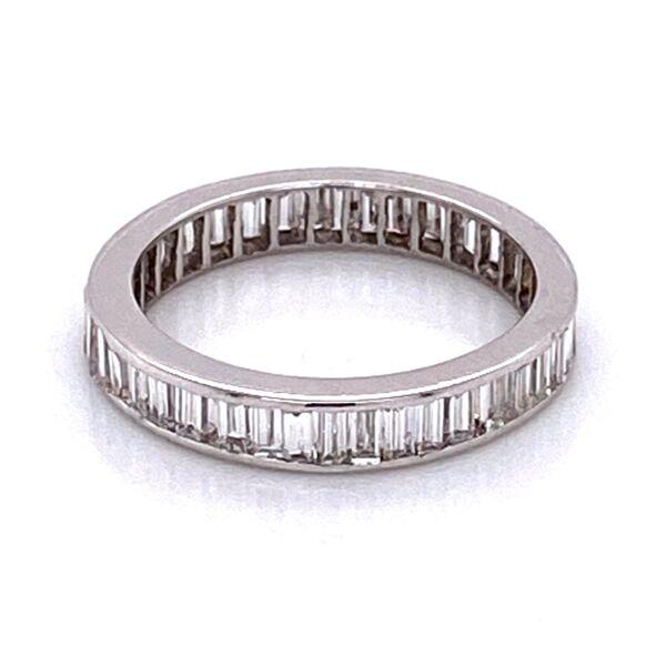 Closeup photo of 14K WG Baguette Diamond Eternity Band 1.40tcw 1.7g, s5.25