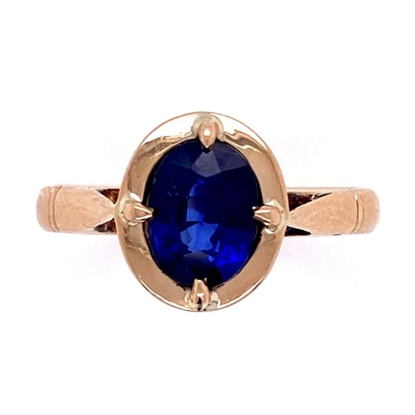 Closeup photo of 14K YG Victorian 1.38ct Oval Sapphire Ring 3.0g, s6.25
