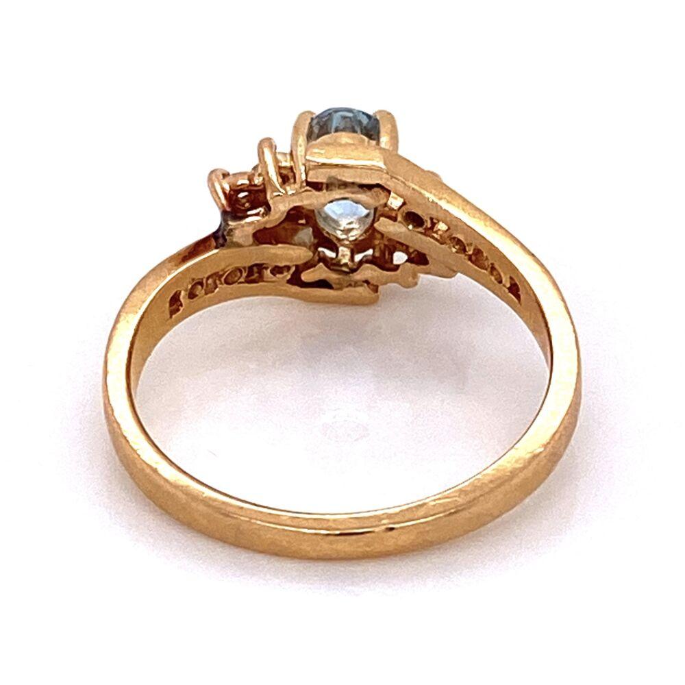14K YG Oval Aquamarine & Diamond Bypass Shank Ring 3.0g, s6.5