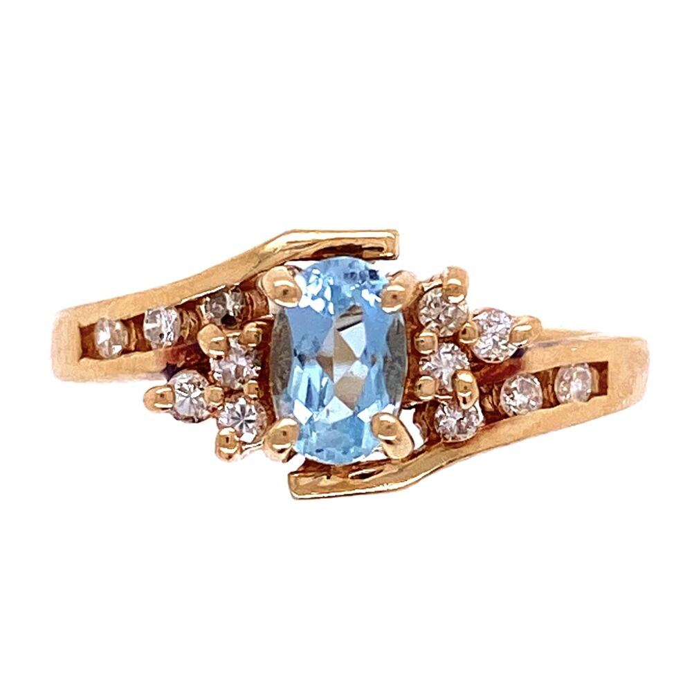Image 2 for 14K YG Oval Aquamarine & Diamond Bypass Shank Ring 3.0g, s6.5