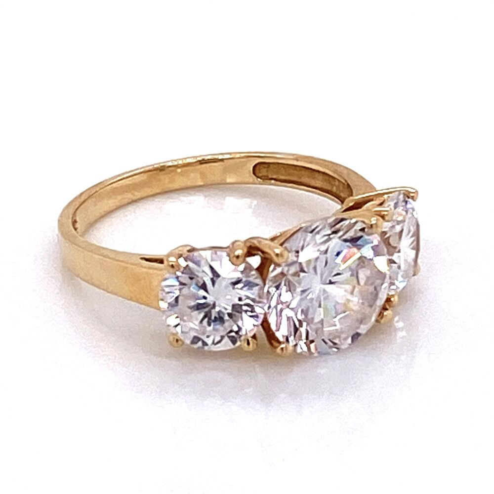 Image 2 for 14K YG Classic 3 Stone 4 prong CZ Cubic Zirconia Ring, 3.3g, s